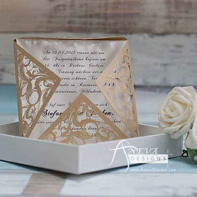 Swirling Stems Laser cut paper wedding invitations