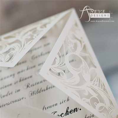 Swirling Stems Laser cut paper wedding invitations - detail
