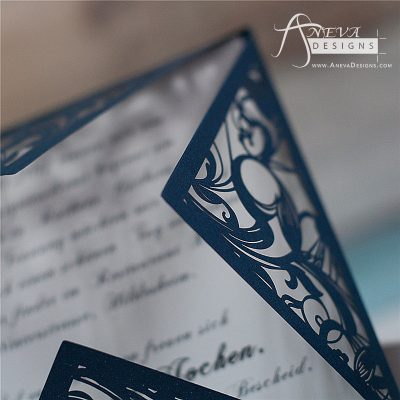 Swirling Stems Laser cut paper wedding invitations - navy detail