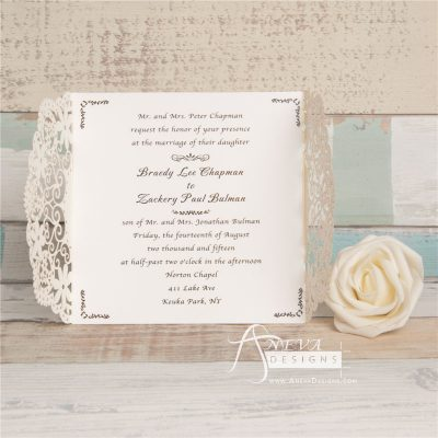 Scalloped Edge Design Gatefold laser cut wedding invitation