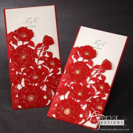 Peony Flowers with Metallic Accent laser cut wedding invitations - red