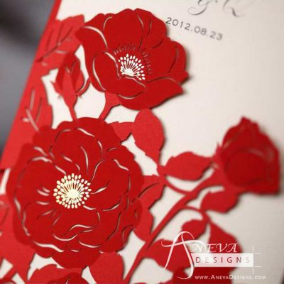 Peony Flowers with Metallic Accent laser cut wedding invitations - red detail