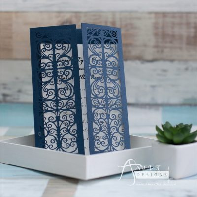 Vertical Scroll Panel Gatefold laser cut wedding invitations - navy