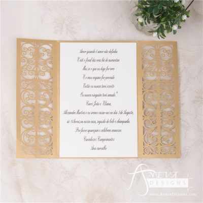 Vertical Scroll Panel Gatefold laser cut wedding invitation
