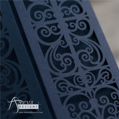 Vertical Scroll Panel Gatefold laser cut wedding invitations - navy detail
