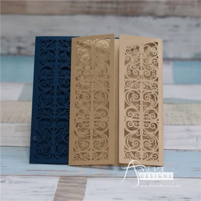 Vertical Scroll Panel Gatefold laser cut wedding invitations