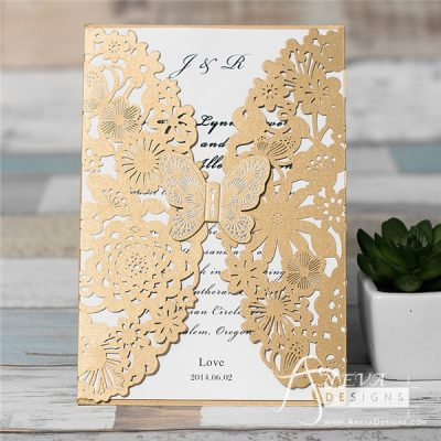 Butterfly Among Flowers (Metallic Accent) laser cut wedding invitations