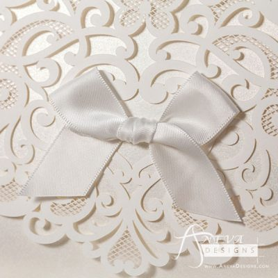 Heart Swirls Tri-Fold Card With Bow laser cut wedding invitation - detail