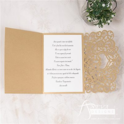 Heart Swirls Tri-Fold Card With Bow laser cut wedding invitation