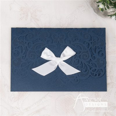 Heart Swirls Tri-Fold Card With Bow laser cut wedding invitation - navy