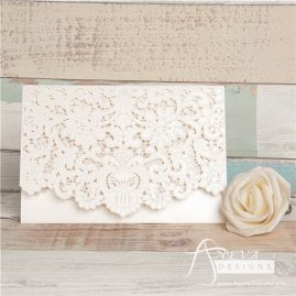 Vintage Lace Top Fold laser cut invitations