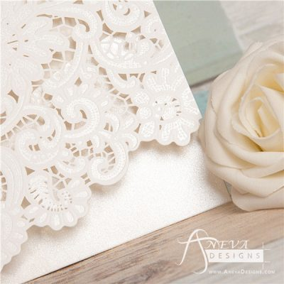 Vintage Lace Top Fold laser cut invitations - detail