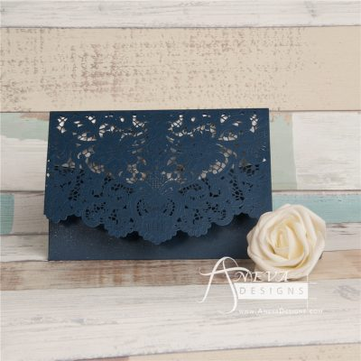Vintage Lace Top Fold laser cut invitations - navy