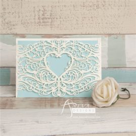 Centered Heart Swirls Wrap laser cut invitations - white
