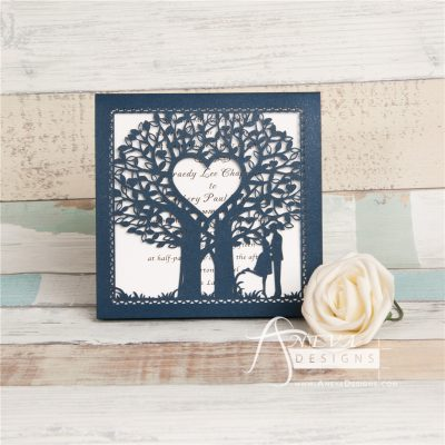 Double Tree Sweethearts Top Fold laser cut invitation - navy