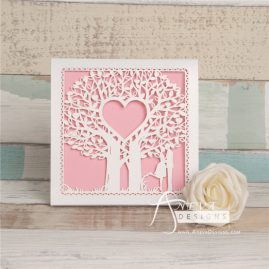 Double Tree Sweethearts Top Fold laser cut invitation