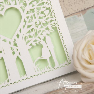 Double Tree Sweethearts Top Fold laser cut invitation - detail