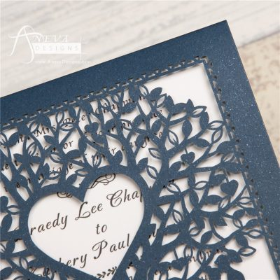 Double Tree Sweethearts Top Fold laser cut invitation - navy detail