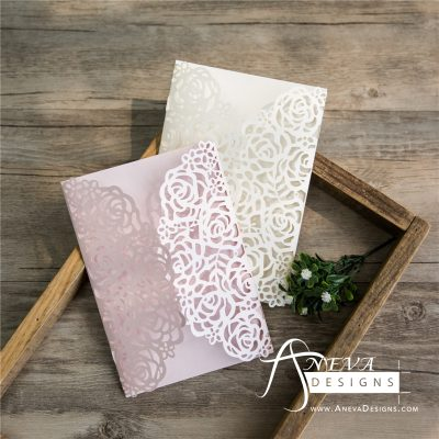 Rose Gatefold Laser Cut Wedding Invitation