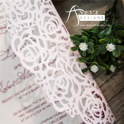 Rose Gatefold Laser Cut Wedding Invitation detail