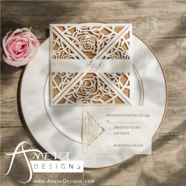Rose 4 Panel laser cut wedding invitation - white