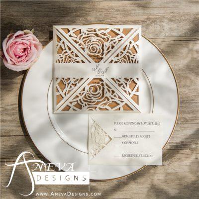 Rose 4 Panel laser cut wedding invitation