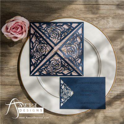 Rose 4 Panel laser cut wedding invitation - navy