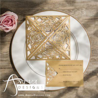 Rose 4 Panel laser cut wedding invitation - gold