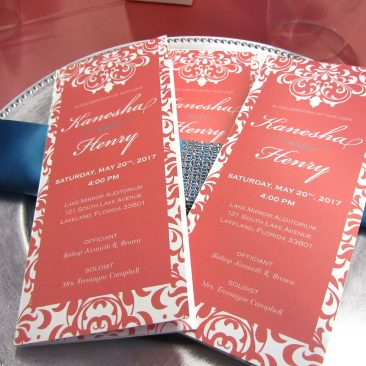 Coral Wedding Program